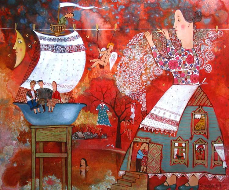 Traditions and modernity snarl together harmonically in the paintings of Belarusian artist Anna Silivonchik, creating an ingenious and arabesque pattern of meanings and symbols. Photo: interfax.by